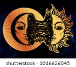 moon crescent turning into... | Shutterstock .eps vector #1016626045
