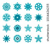collection of blue snowflakes ... | Shutterstock . vector #1016626255
