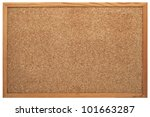 Blank cork board with wooden...