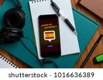 learning spanish using a phone... | Shutterstock . vector #1016636389
