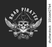 road pirates. human skull in... | Shutterstock .eps vector #1016642764