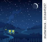 night country farm landscape... | Shutterstock .eps vector #1016645257
