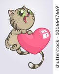 cartoon funny kitty holding a... | Shutterstock .eps vector #1016647669