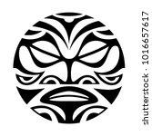 face  sun maori style tattoo | Shutterstock .eps vector #1016657617