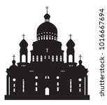 black silhouette on a white... | Shutterstock .eps vector #1016667694