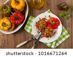 colorful baked with cheese ... | Shutterstock . vector #1016671264