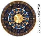 horoscope wheel with european...   Shutterstock . vector #101667601