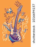 funky drawn guitar musical... | Shutterstock .eps vector #1016694157