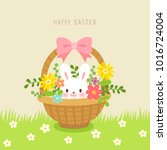 basket with cute rabbit and... | Shutterstock .eps vector #1016724004
