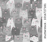 cats. seamless pattern in... | Shutterstock .eps vector #1016727181