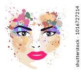 the woman portrait in profile... | Shutterstock .eps vector #1016727214