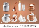 milk can and splash. natural... | Shutterstock .eps vector #1016727235