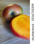 A Ripe Red Mango Cut Open...