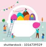 happy easter scene with... | Shutterstock .eps vector #1016739529