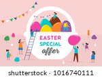 happy easter scene with... | Shutterstock .eps vector #1016740111