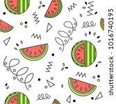 summer playful fresh watermelon ...   Shutterstock .eps vector #1016740195