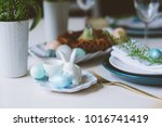 easter and spring festive table ... | Shutterstock . vector #1016741419