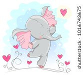 cute baby elephant  with hearts....   Shutterstock .eps vector #1016743675