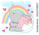 cute elephant  vector... | Shutterstock .eps vector #1016743837