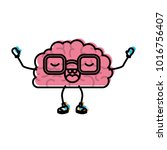 brain cartoon with glasses and... | Shutterstock .eps vector #1016756407