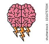 brain in top view with... | Shutterstock .eps vector #1016757034