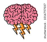 brain in side view with... | Shutterstock .eps vector #1016757037