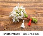 beautiful bouquet of snowdrops | Shutterstock . vector #1016761531