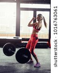 athlete woman successfully lift ... | Shutterstock . vector #1016763061