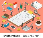 tax payment flat isometric... | Shutterstock .eps vector #1016763784