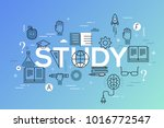 study word surrounded by books  ... | Shutterstock .eps vector #1016772547