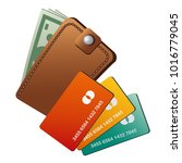 wallet and credit cards | Shutterstock . vector #1016779045