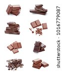 close up of chocolate pieces on ... | Shutterstock . vector #1016779087