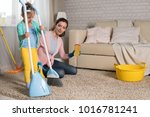 mom and daughter are cleaning...   Shutterstock . vector #1016781241