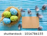 painted easter eggs in the nest ... | Shutterstock . vector #1016786155