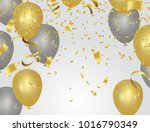golden party balloons isolated...   Shutterstock .eps vector #1016790349