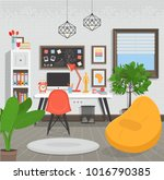 workplace flat style vector... | Shutterstock .eps vector #1016790385