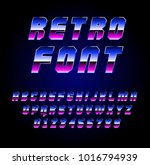 shiny chrome alphabet in 80s... | Shutterstock .eps vector #1016794939