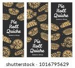 meat pie  roll  quiche vector... | Shutterstock .eps vector #1016795629