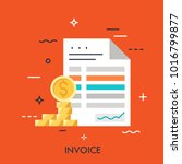 invoice and dollar coins.... | Shutterstock .eps vector #1016799877