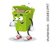 cartoon trash can mascot... | Shutterstock .eps vector #1016811997