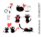 vector set of enamored cats on... | Shutterstock .eps vector #1016812357