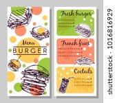 vector set with burger menu | Shutterstock .eps vector #1016816929