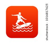 surfer man icon digital red for ... | Shutterstock .eps vector #1016817625