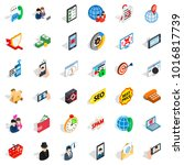 telecom icons set. isometric... | Shutterstock .eps vector #1016817739