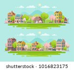 spring in small town. urban... | Shutterstock .eps vector #1016823175