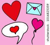 hand drawn st valentine's day... | Shutterstock .eps vector #1016825359