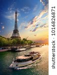on bank of seine | Shutterstock . vector #1016826871
