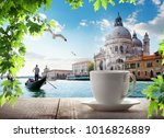 a cup of coffee in venice | Shutterstock . vector #1016826889