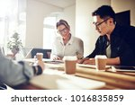 diverse work colleagues smiling ... | Shutterstock . vector #1016835859