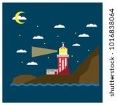lighthouse. the small striped... | Shutterstock .eps vector #1016838064